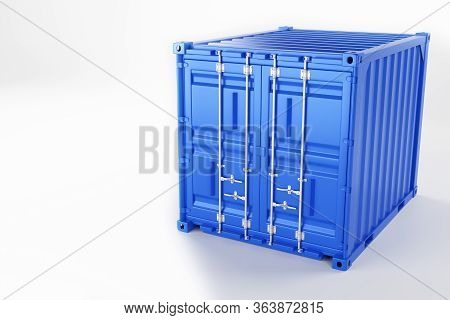 A High Quality Image Of A Blue 10ft Shipping Container On A White Background. Ten Foot Sea Shipping