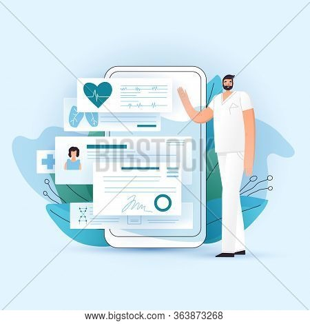 Online Rx Medical Prescription And Medic Check Up On Smartphone, Vector Illustration. Doctor Showing