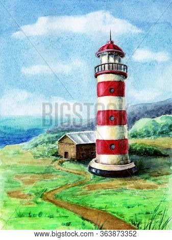 Seaside Landscape With Lighthouse. Watercolor Painting Of Lighthouse At Seashore. Seascape With Red