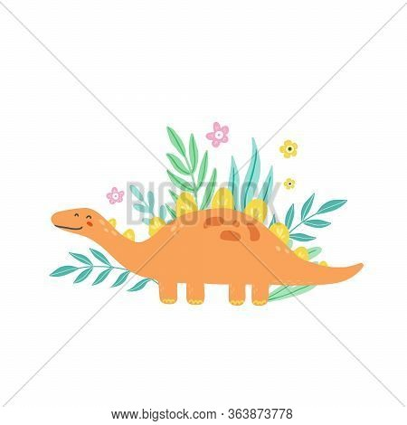 Cute Dinosaur For Kids, Baby T-shirt, Greeting Card Design. Funny Little Dino Of Hand Drawn Style. V