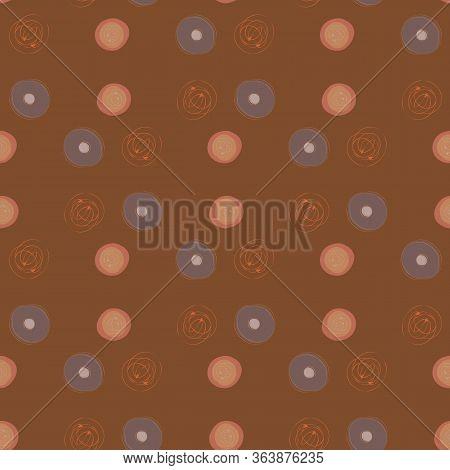 Scribbled Ink Line Circle Vector Seamless Pattern Background. Monochrome Brush Stroke Swirls Brown B