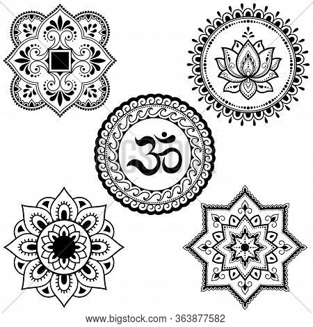 Set Of Circular Patterns In Form Of Mandala With Religious Symbols. Oriental Signs Om, Lotus Flower,