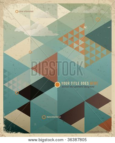 Abstract Retro Geometric Background with clouds. Vector Illustration