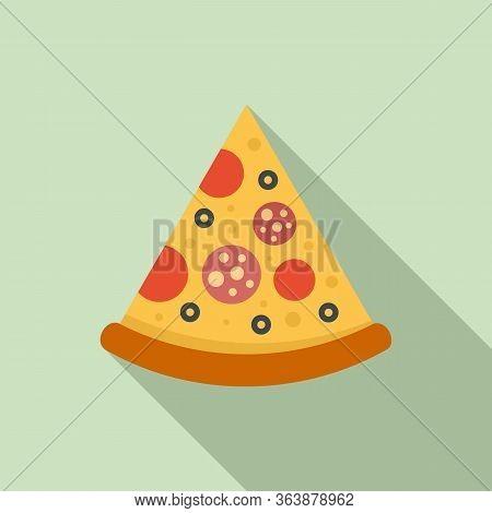 Tasty Pizza Slice Icon. Flat Illustration Of Tasty Pizza Slice Vector Icon For Web Design