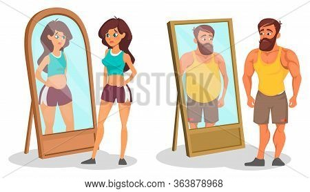 Fat And Slim People With Reflection In Mirrors Vector Illustration. Different Between Body Shapes Ca