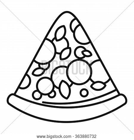 Tasty Pizza Slice Icon. Outline Tasty Pizza Slice Vector Icon For Web Design Isolated On White Backg