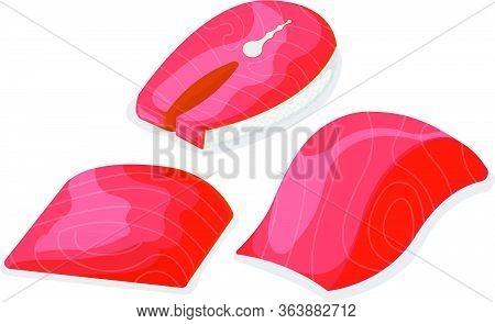 Set Of Piece Fish Tuna Salmon, Fresh Minnow Steak Tenderloin Isolated On White, Cartoon Vector Illus
