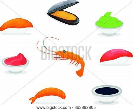 Set Of Piece Fish Salmon Sushi Icon, Fresh Ocean Mussel And Shrimp, Soy Sauce Wasabi And Ginger Cart