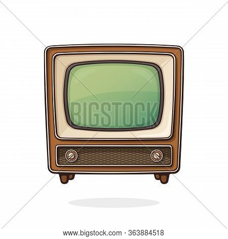 Vector Illustration. Analogue Retro Tv With Wooden Body, Signal And Channel Selector. Vintage Televi