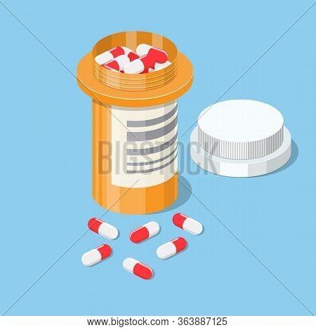 Plastic Bottle Of Pills In Isometric View Isolated On White Background, Tablet Pills Medical Drug Ph