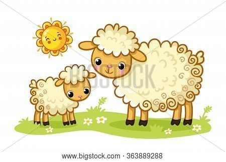 A Sheep And A Lamb Stand In A Green Sunny Meadow. Vector Illustration With Cute Animals