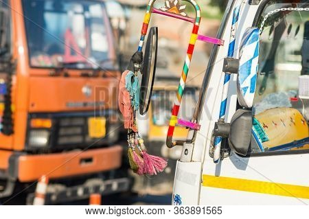 Colorfully Decorated Indian Truck On A Delhi–jaipur Expressway Nh48 Near Jaipur, India