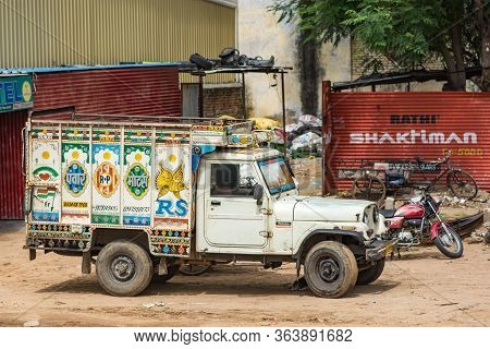 Jaipur, Rajasthan / India - September 28, 2019: Colorfully Decorated Indian Truck On A Delhi-jaipur