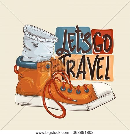 Lets Go Travel - Color Flat Hand Drawn Vector Illustration Of Vacation Time. Cartoon Style. Child T-