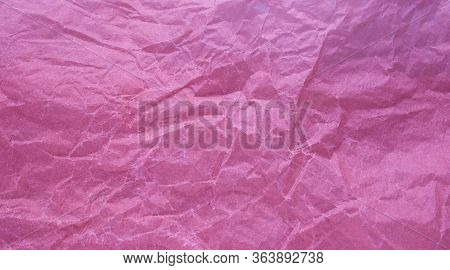 Crumpled Paper With A Pink Texture. Texture Of Crumpled Paper. Crumpled Paper. Paper Wrinkles.