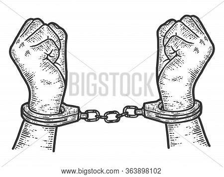 Offender, Male Hands In Handcuffs. Sketch Scratch Board Imitation.
