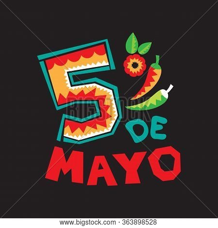 Mexican National Holiday Cinco De Mayo Symbols. Vector Illustration. Design Elements For Holiday Pos
