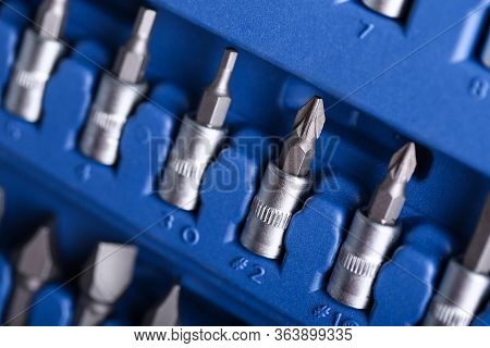 Closeup Set Metal Drills For Holes In Plastic Box. Tool For All Types Drilling In Various Materials.