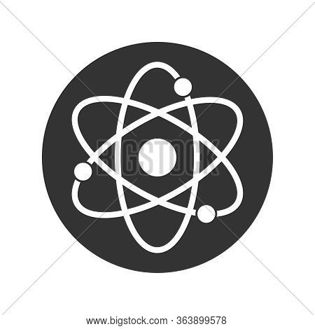 Atom Graphic Icon. Atom Sign In The Circle Isolated On White Background. Atom Symbol, Chemistry & Sc