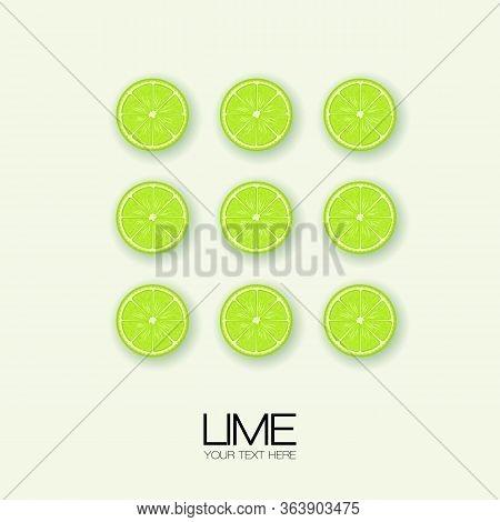 Vector Lime Slice Green Illustration Lemon Isolated Half Fruit Lime. Fresh Green Cut Citrus Icon. Is
