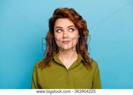 Portrait Of Minded Interested Woman Look Copyspace Think Thoughts About Summer Rest Relax Wear Moder