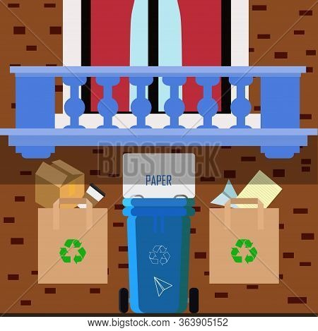 Vector Flat Illustration Of Sorting Garbage Into Categories Plastic, Organic, Metal, Paper, Glass. T