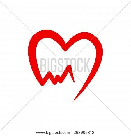 Electrocardiogram And Heart Vector Graphic Design Illustration