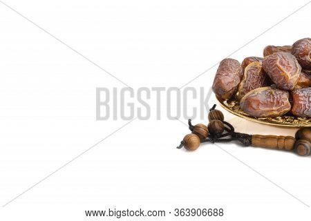 Date Fruits Or Dry Dates Isolated On White Background.ramadan Kareem Breaking The Fast By Eating Tam