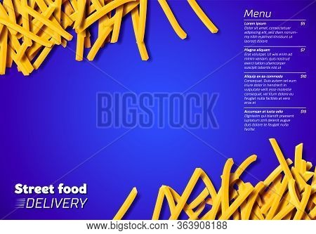 Fried Potato, Chips, Crisps Or French Fries Laying In Heap Illustration For Tray Print Or Poster