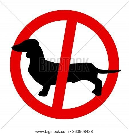 Silhouette Of A Dachshund. Black Silhouette Of A Dog, Set Of Illustrations On A White Background