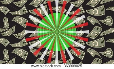 Luck Wheel On Money Background. Big Win. Gambling Business Concept. Casino And Gambling. Spinning Ro