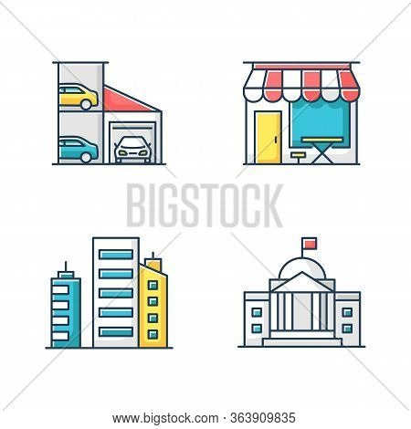 Industrial Buildings Rgb Color Icons Set. Multistorey Car Parking Lot. Cafe Storefront. Business Dis