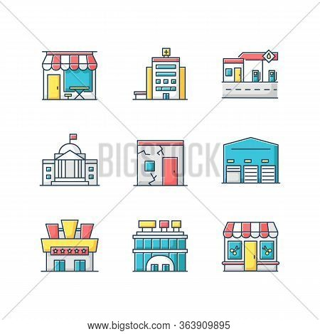 Urban Building Exteriors Rgb Color Icons Set. Cafe Exterior. Hospital Entrance. State Institute Fron
