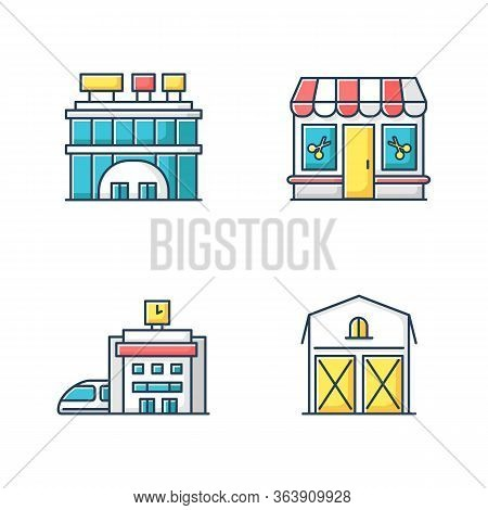 Buildings Rgb Color Icons Set. Shopping Center With Signboards On Roof. Beauty Salon Entrance. Haird