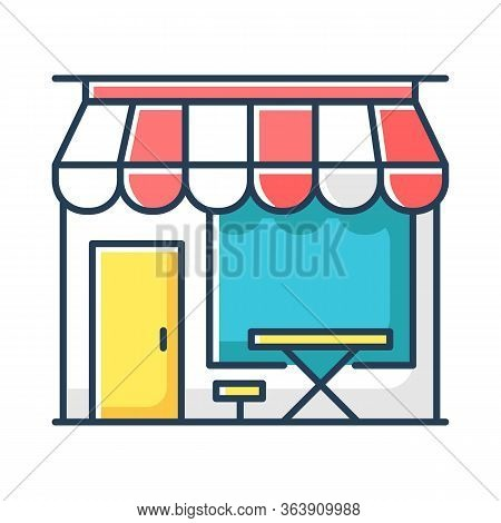 Cafe Front Rgb Color Icon. Coffeeshop Storefront. Cafeteria Exterior. Bistro Building With Display A