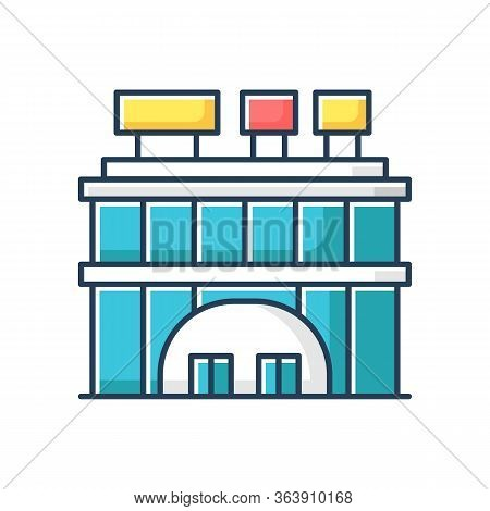 Shopping Center Front Rgb Color Icon. City Mall Entrance. Industrial Building With Signboard On Roof