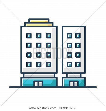 Multiapartment Complex Rgb Color Icon. Multistorey Building Front. High Rise Hotel. Hostel Complex E