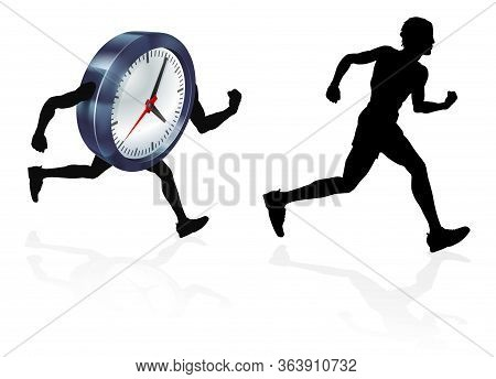 A Man Running Racing A Clock Concept For Time Pressure Or Work Life Balance, Being Stressed Or Racin