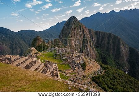 View Of The Ancient City Of Machu Picchu, Peru. Lost Incan City Of Machu Picchu Near Cusco, Peru. Pe