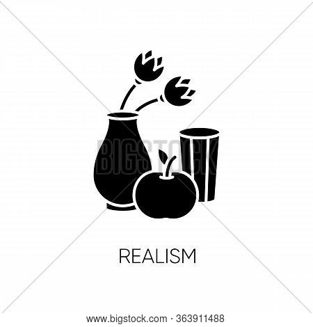 Realism Black Glyph Icon. Fine Art Movement. Naturalism Style. Vase With Flowers And Fruit. Still Li