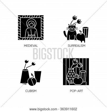 Art Movements Black Glyph Icons Set On White Space. Surrealism And Cubism Styles. Medieval Portrait