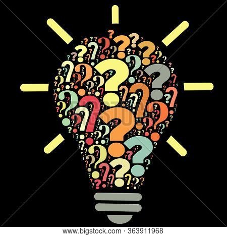 Light bulb with question marks on dark background