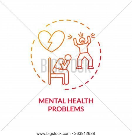 Mental Health Problems Concept Icon. Cvd Causes, Psychological Factors Idea Thin Line Illustration.