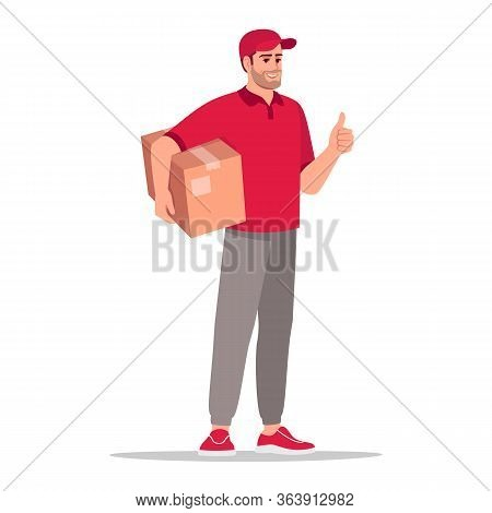 Box Delivery Semi Flat Rgb Color Vector Illustration. Deliveryman Holding Cardboard Package. Worker