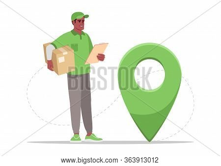 Order Geolocation Semi Flat Rgb Color Vector Illustration. Gps Pointer To Location Of Parcel. Ecomme