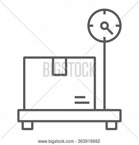 Box On Storage Scale Thin Line Icon, Logistic And Delivery, Platform Scale Sign Vector Graphics, A L