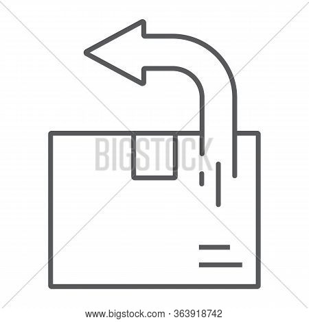 Return Shipping Thin Line Icon, Logistic And Delivery, Package Box Return Sign Vector Graphics, A Li