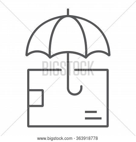 Delivery Insurance Thin Line Icon, Logistic And Delivery, Package Box With Umbrella Sign Vector Grap