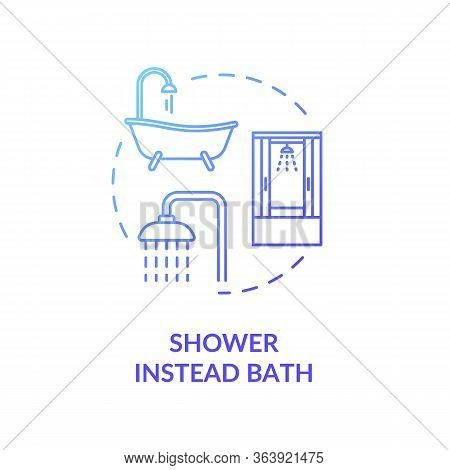 Shower Instead Bath Blue Concept Icon. Efficient Water Consumption. Personal Hygiene And Cleanliness