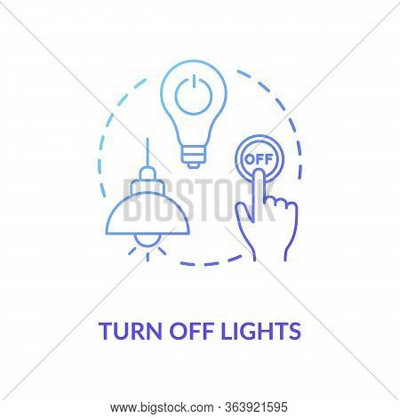 Turn Off Light Blue Concept Icon. Hand Pressing Lamp Switch. Preserving Energy Usage. Electricity Co